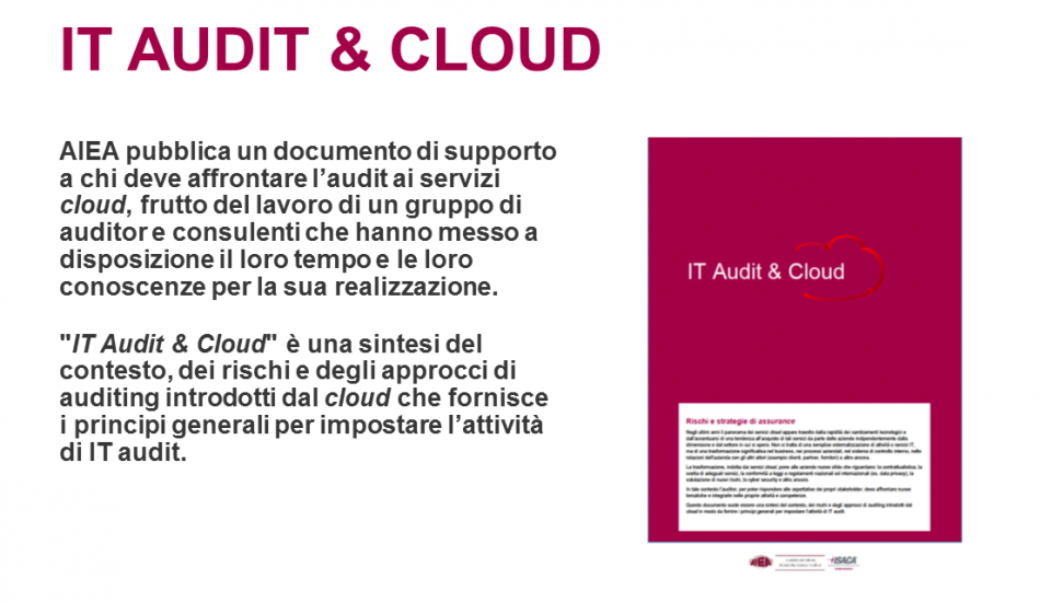 AIEA pubblica IT Audit & Cloud