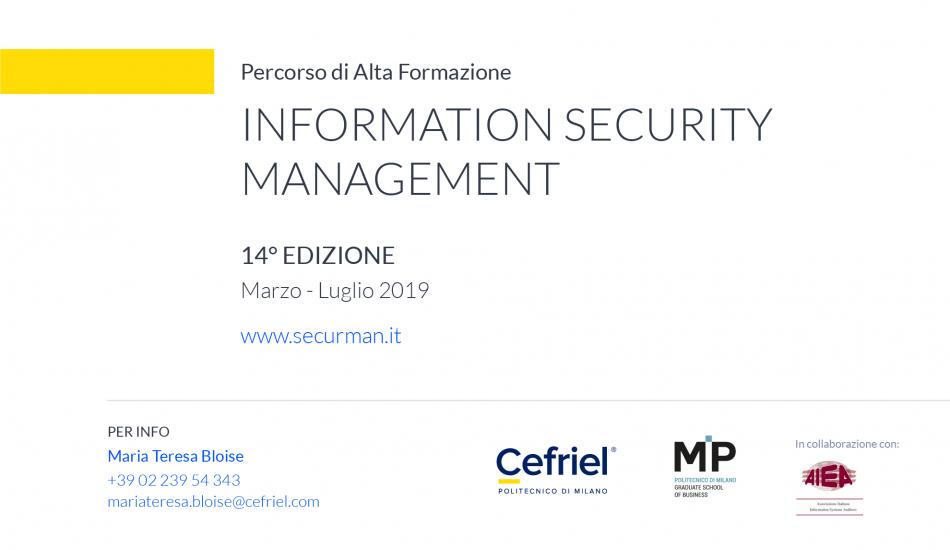 Information Security Management  Marzo-Luglio 2019 Cefriel MP