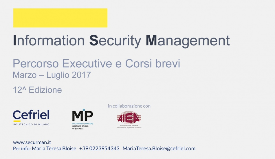 Immagine Executive in Information Security Management